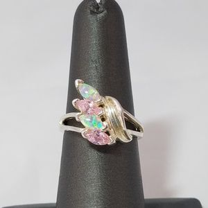 Jewelry - 925 Sterling Silver Pink Stone Cocktail Ring